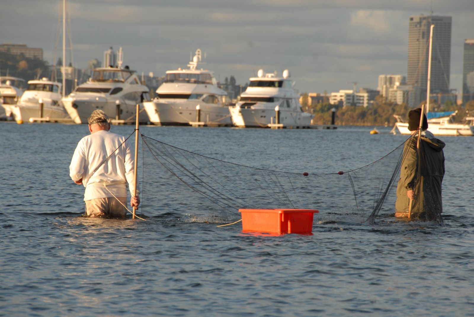 Catching prawns in the Swan River